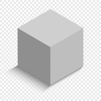 Белый куб с перспективой. 3d модель коробки с тенью