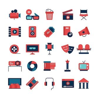 Плоский цветной набор иконок кино и символов кино с видеокамерой тв экран 3d очки и атрибуты съемок, изолированных векторная иллюстрация