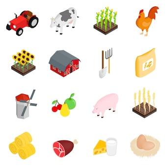 Набор фермы изометрическая 3d иконки на белом фоне