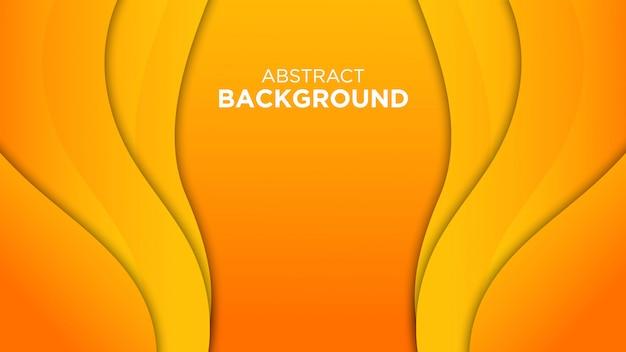 オレンジ色の紙カットの背景3d