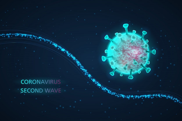 Коронавирус, вторая волна. футуристический 3d фон.