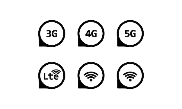 3g, 4g, 5g, lte and wifi sign. wireless connection. vector on isolated white background. eps 10.