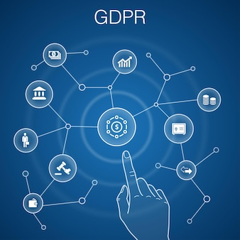 3gdprコンセプト、青い背景。データ、e-プライバシー、契約、保護アイコン