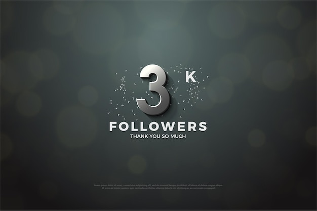3k follower background with 3d dimensional silver numerals