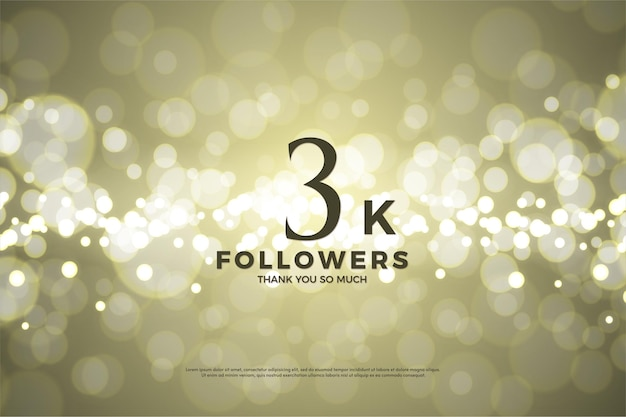 3k followers background with gold background