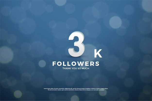 3k followers background with numbers on navy blue background