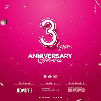 Приглашение на 3-ю годовщину с номерами в рамке и мягкими штрихами на розовом фоне