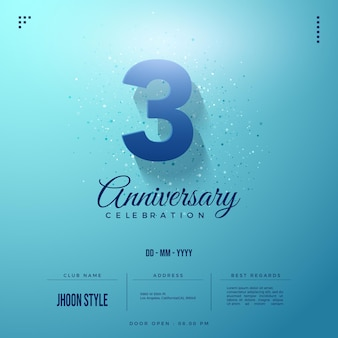 3rd anniversary invitation with simple 3d number illustration