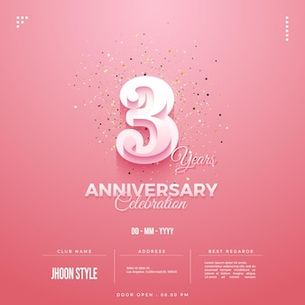 3rd anniversary party invitation with balloon numbers