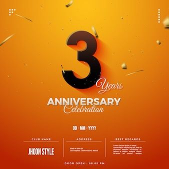 Приглашение на 3-ю годовщину с датой и открытой дверью
