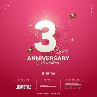 Приглашение на 3-ю годовщину с номерами в мягких тонах на розовом фоне