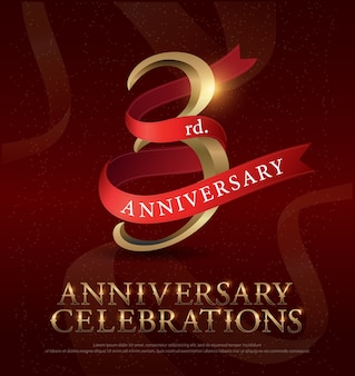 3rd year anniversary celebration golden logo with red ribbon