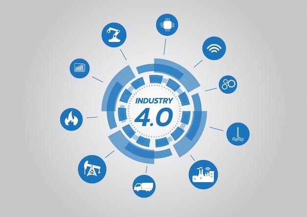 業界4.0のコンセプトのアイコン