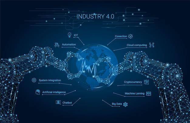 ロボットアーム付きインダストリー4.0。スマート産業革命、自動化、ロボットアシスタント。ベクトルイラスト