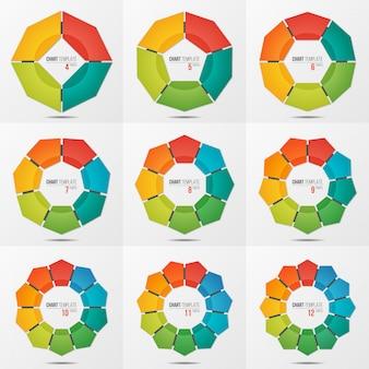 4〜12の部分を持つ多角形円グラフテンプレートのセット