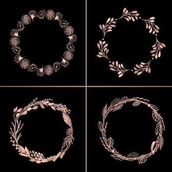 Розовые золотые цветочные венки 4 в 1