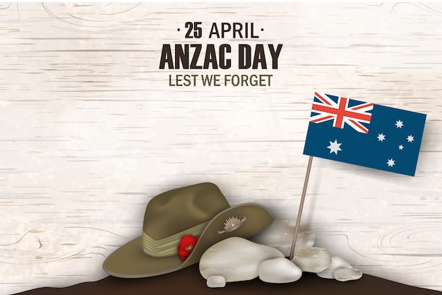 アンザックデイポピー記念日記念日。忘れることの無いように。アンザックの日4月25日オーストラリアの戦争記念日のポスターまたはオーストラリアの旗、アンザック軍の前かがみ帽子のグリーティングカードデザイン。