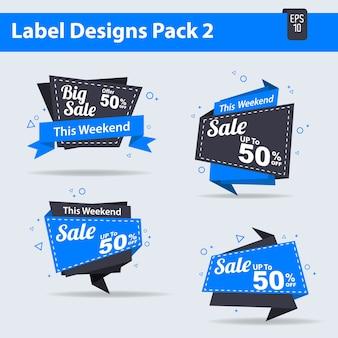 4販売ラベルデザインパック2ベクトル、販売、タグ、サイン、