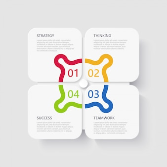 成功のための4つのステップを持つモダンな3 dインフォグラフィックテンプレート