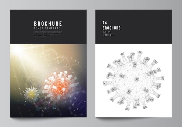 Макет шаблонов макетов обложек а4 для брошюры, макет флаера, буклет, дизайн обложки, дизайн книги. медицинская предпосылка вируса короны 3d. covid 19, коронавирусная инфекция. вирусная концепция.