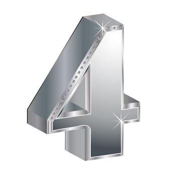 番号4、3d、金属