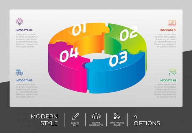 プレゼンテーション用の4つのステップとカラフルなスタイルの3dステップインフォグラフィックデザイン。サークルオプションのインフォグラフィック