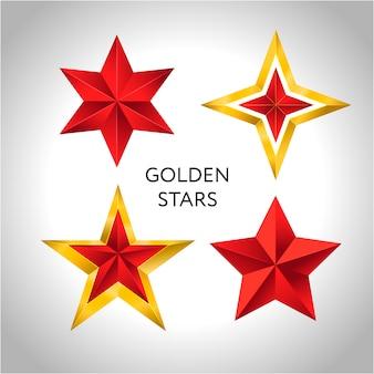 Векторная иллюстрация 4 золотых звезд рождество новый год праздник 3d