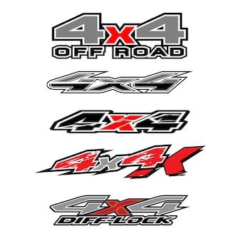 4輪駆動のトラックと車のグラフィックベクトルの4 x 4ロゴ。車両用ビニールラップの設計