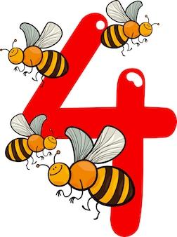 4番と4番のミツバチ