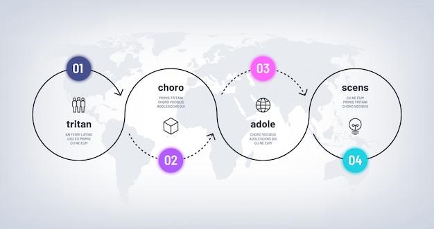 タイムラインのインフォグラフィック。世界地図上の4ステップのループプロセスチャート。ビジネス4つのオプションは数字で処理します。ワークフロー図