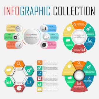 4つの6つのステップのインフォグラフィックコレクション