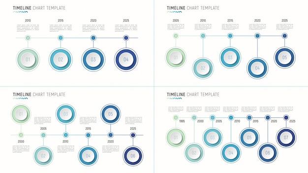 データ視覚化のためのタイムライングラフインフォグラフィックテンプレート。 4-7