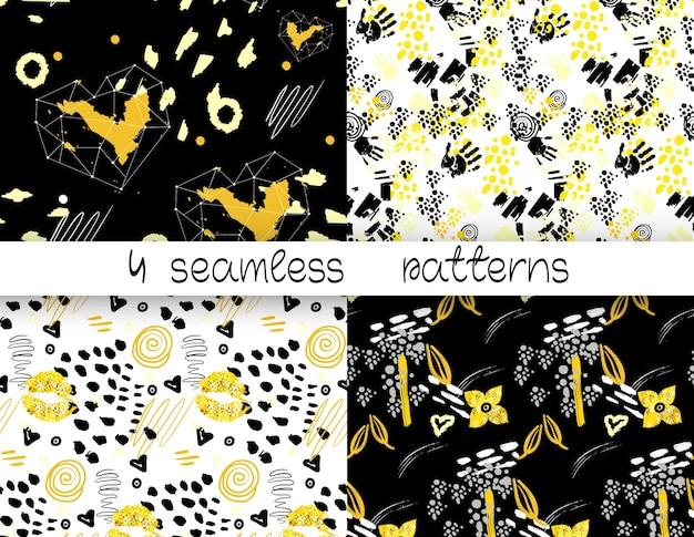 4 абстрактных бесшовные модели. бесшовный фон с губами, цветами, сердцами, отпечатками ладоней. золотой, серый, черный и белый цвета.