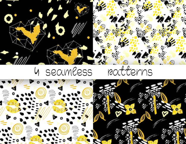 4 abstract seamless pattern. seamless pattern with lips ,flowers , hearts,handprints.  gold, gray, black and white colors.