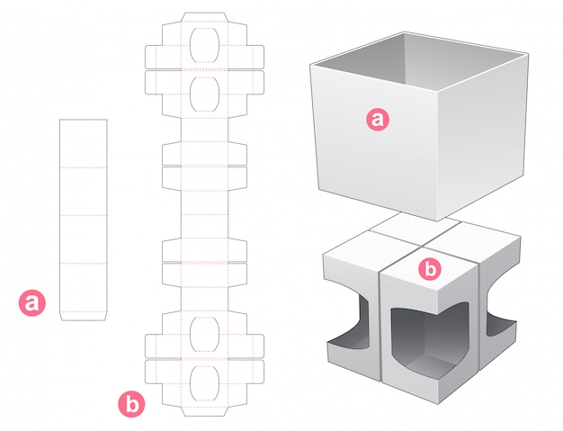 4 box with cover die cut template design