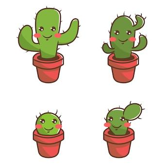 4 кактуса милый персонаж
