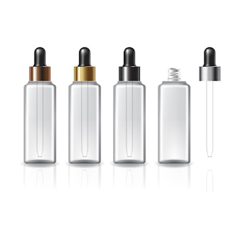 美容や健康製品のための黒いスポイト付きの4キャップカラークリアスクエア化粧品ボトル。反射の影と白い背景で隔離。パッケージデザインにすぐに使用できます。
