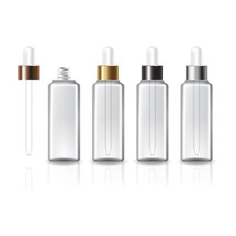 美容や健康製品のための白いスポイト付きの4つのキャップカラーの透明な正方形の化粧品ボトル。反射の影と白い背景で隔離。パッケージデザインにすぐに使用できます。