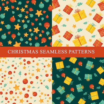 4 christmas seamless patterns in retro style. Premium Vector