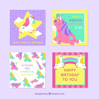 유니콘 4 화려한 생일 카드