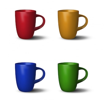 4 colorful realistic cups