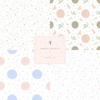 4つのシームレスな近代抽象的なパターンのconfettiのセット。