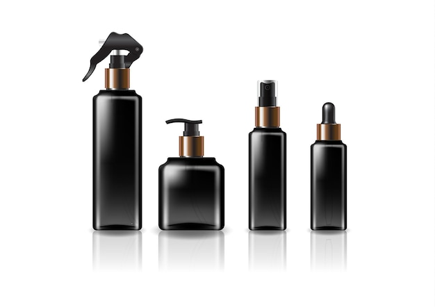 4つの銅-黒の頭/サイズの黒の正方形の化粧品ボトルのモックアップテンプレート。反射の影と白い背景で隔離。パッケージデザインにすぐに使用できます。ベクトルイラスト。