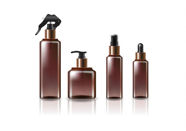 4つの銅-黒の頭/サイズの茶色の正方形の化粧品ボトルのモックアップテンプレート。反射の影と白い背景で隔離。パッケージデザインにすぐに使用できます。ベクトルイラスト。