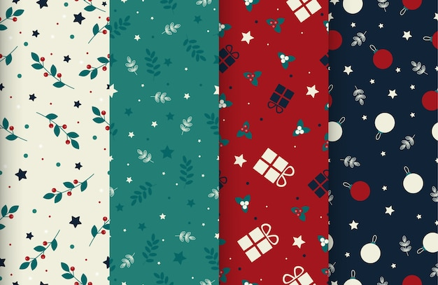 4 cute christmas seamless winter time patterns