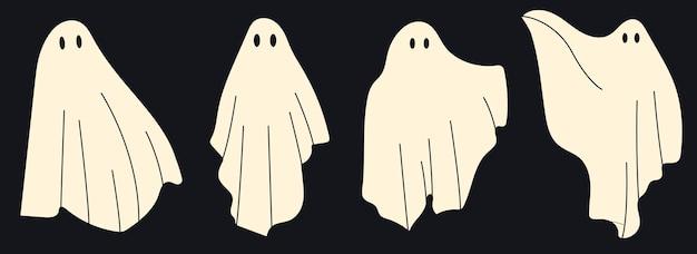 4つのかわいい幽霊のキャラクター。不気味なハロウィーンの幽霊