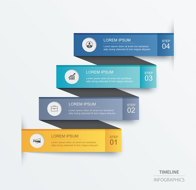 4 data infographics tab paper index template.