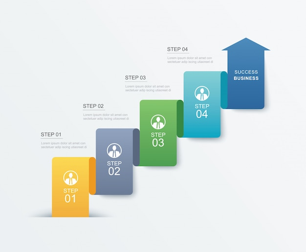4 data step infographics timeline tab paper index template.