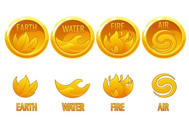 4 стихии природа, золотые иконки искусство вода, земля, огонь, воздух для игры. векторные иллюстрации набор круглые монеты с природой знаков для дизайна.