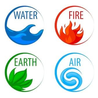 4 стихии природа, значки вода, земля, огонь, воздух для игры. векторная иллюстрация набор круглых художественных рамок со знаками природы в плоском стиле для дизайна.